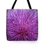 Up Close On Musk Thistle Bloom Tote Bag