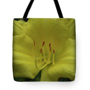 Up-close With A Very Bright Yellow Daylily Flower Tote Bag