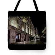 Up Lighting On A European Building At Night  Tote Bag