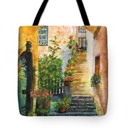 Up The Stone Staircase Tote Bag