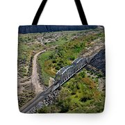 Up Tracks Cross The Mojave River Tote Bag by Jim Thompson