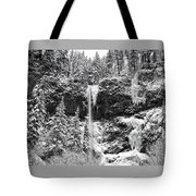 Upper Falls In Snow's Cover Tote Bag