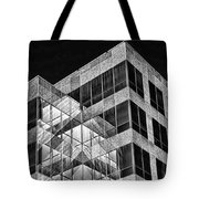 Urban Abstract - Mirrored High-rise Building In Black And White Tote Bag