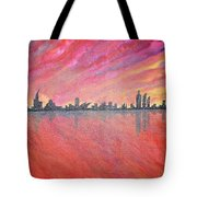 Urban Cityscapes In Twilight Tote Bag