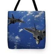 U.s. Air Force F-22 Raptors In Flight Tote Bag