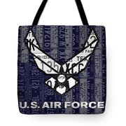 Us Air Force Logo Recycled Vintage License Plate Art Tote Bag