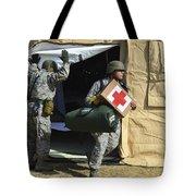 U.s. Air Force Soldier Exits A Medical Tote Bag