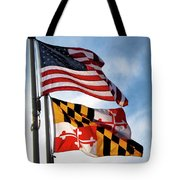 Us And Maryland Flags Tote Bag