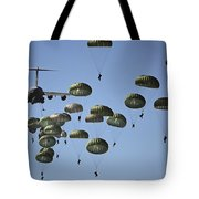 U.s. Army Paratroopers Jumping Tote Bag by Stocktrek Images
