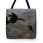 U.s. Army Soldiers Conduct A Halo Jump Tote Bag