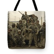 U.s. Army Soldiers Pose For A Photo Tote Bag