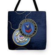 U.s. Coast Guard Petty Officer Second Class - Uscg Po2 Rank Insignia Over Blue Velvet Tote Bag