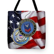 U. S. Coast Guard Petty Officer Second Class - Uscg Po2 Rank Insignia Over Us Flag Tote Bag