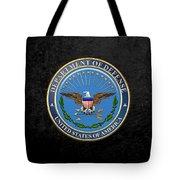 U. S. Department Of Defense - D O D Emblem Over Black Velvet Tote Bag