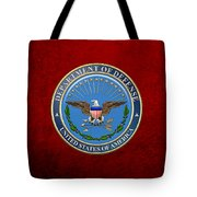 U. S. Department Of Defense - D O D Emblem Over Red Velvet Tote Bag
