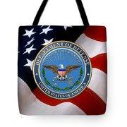U. S. Department Of Defense - D O D Emblem Over U. S. Flag Tote Bag