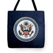 U. S. Department Of State - D O S Emblem Over Blue Velvet Tote Bag