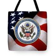 U. S. Department Of State - Dos Emblem Over U.s. Flag Tote Bag