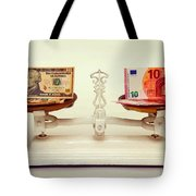 U.s. Dollar And Euro Banknotes On A Pair Of Scales In Vienna Tote Bag