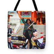 U.s. First Lady Michelle Obama  Plays The Taiko Drum  Tote Bag