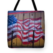 Us Flag On Side Of Freight Engine Tote Bag