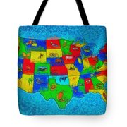Us Map With Theme  - Special Finishing -  - Da Tote Bag