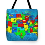 Us Map With Theme  - Van Gogh Style -  - Pa Tote Bag