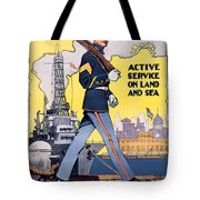 U.s. Marines Active Service On Land And Sea Tote Bag