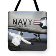 U.s. Navy Sailors Give The Thumbs Tote Bag by Stocktrek Images