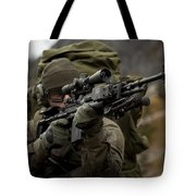 U.s. Special Forces Soldier Armed Tote Bag by Tom Weber