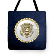 Vice Presidential Service Badge On Blue Velvet Tote Bag