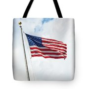 Usa Flag On Blue Sky With Clouds Tote Bag