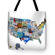 Usa License Plates Map 4p Tote Bag