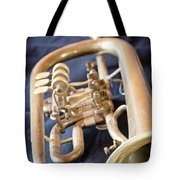 Used Old Trumpet. Vertically. Tote Bag