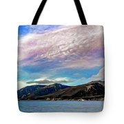 Ushuaia, Ar, Clouds Over Mountains Tote Bag