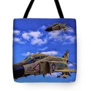 Usn F-4 Phantom II Over Vietnam - Oil Tote Bag