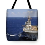 Uss Boxer Leads A Convoy Of Ships Tote Bag