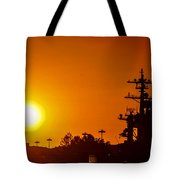 Uss Carl Vinson At Sunset 3 Tote Bag