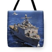 Uss Comstock Leads A Convoy Of Ships Tote Bag