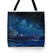 Uss Truxtun Dlgn-35 A Nuclear-powered Cruiser At Sea At Night Under The Milky Way Tote Bag