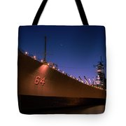 Uss Wisconsin Sunset Tote Bag