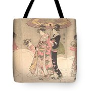 Utagawa Toyokuni I    Courtesans And Attendants Playing In The Snow Tote Bag