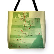 Utah Map Square Cities Straight Pin Vintage Tote Bag