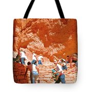 Utah Seventh Graders Climb Up Switchbacks On Wall Street On Navajo Trail In Bryce Canyon National Pa Tote Bag