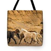 Ute Mountain Wild Horses On The Run Tote Bag