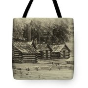 Valley Forge Barracks In Sepia Tote Bag