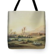 Valley Of The Nile With The Ruins Of The Temple Of Seti I Tote Bag by Prosper Georges Antoine Marilhat