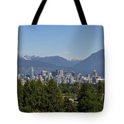 Vancouver Bc City Skyline And Mountains View Tote Bag
