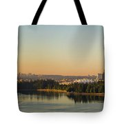 Vancouver Bc Cityscape By Stanley Park Morning View Tote Bag
