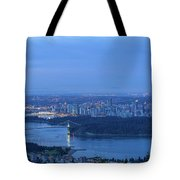 Vancouver Bc Cityscape During Blue Hour Dawn Tote Bag